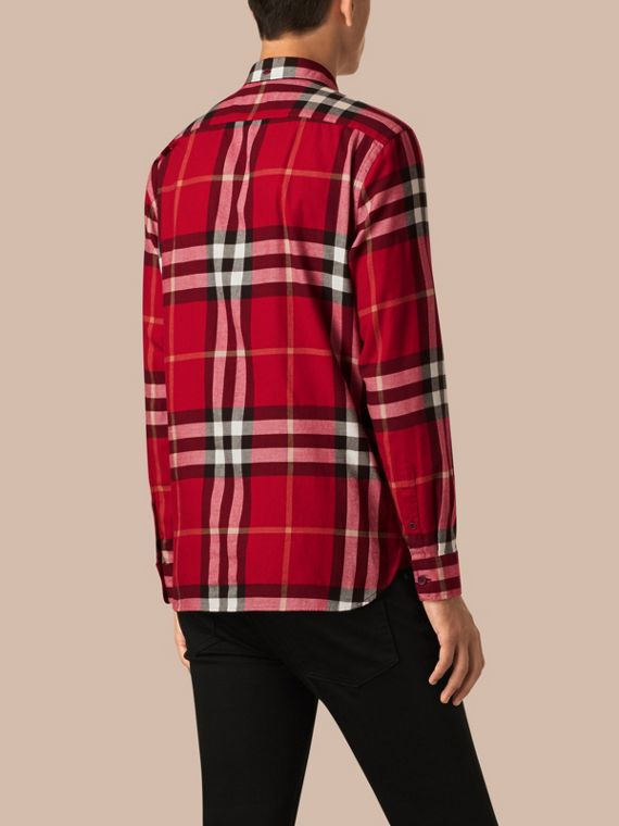 Parade red Check Cotton Flannel Shirt Parade Red - cell image 2