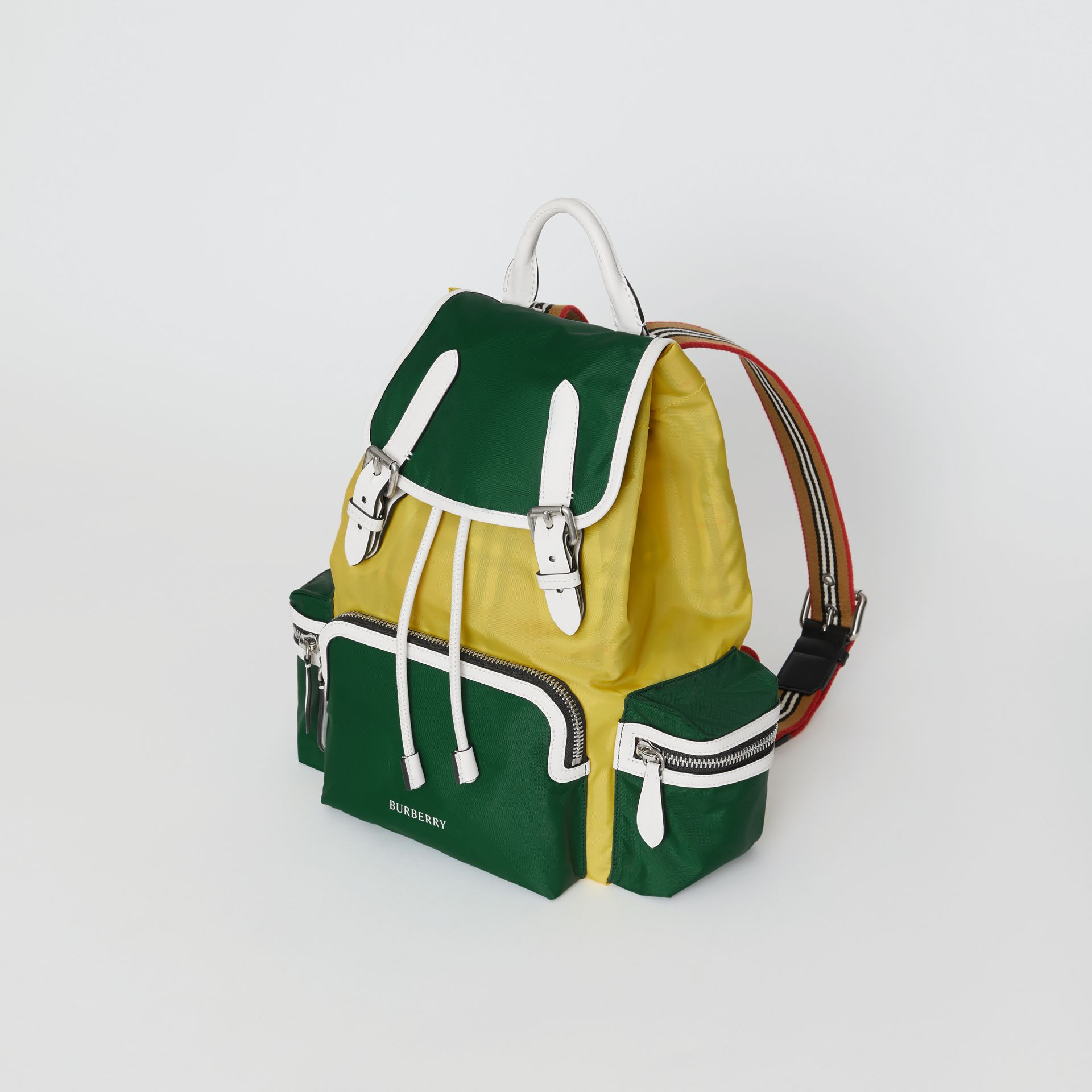 The Medium Rucksack in Colour Block Nylon and Leather in Pine Green - Women | Burberry Canada - gallery image 0