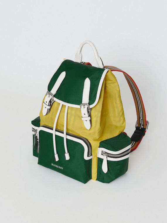 The Medium Rucksack in Colour Block Nylon and Leather in Pine Green