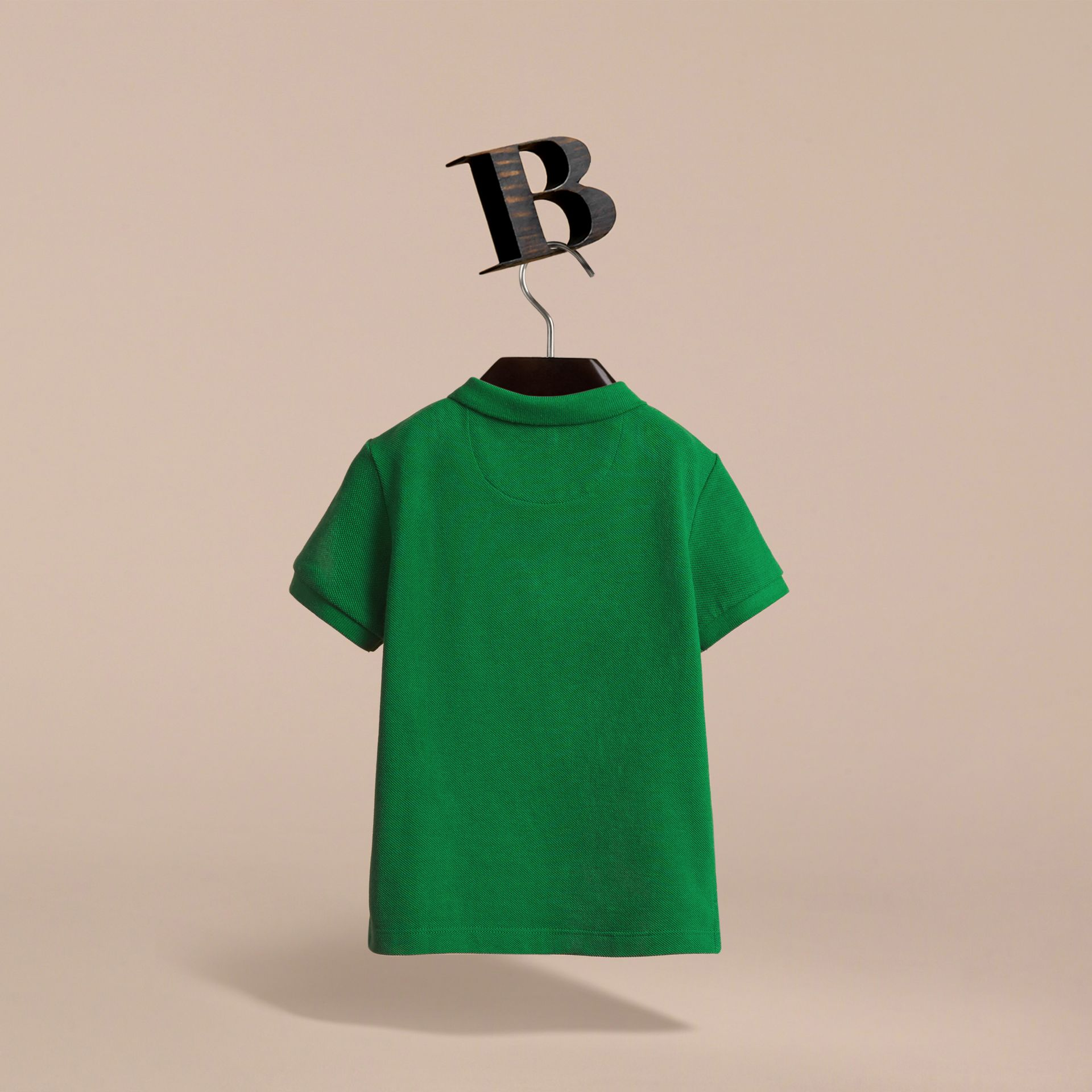 Check Placket Polo Shirt in Pigment Green - Boy | Burberry - gallery image 4