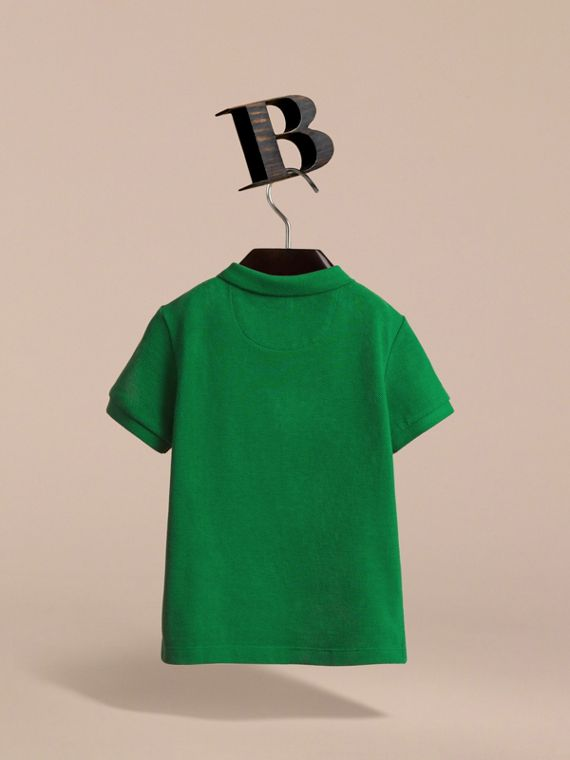 Check Placket Polo Shirt in Pigment Green - Boy | Burberry - cell image 3