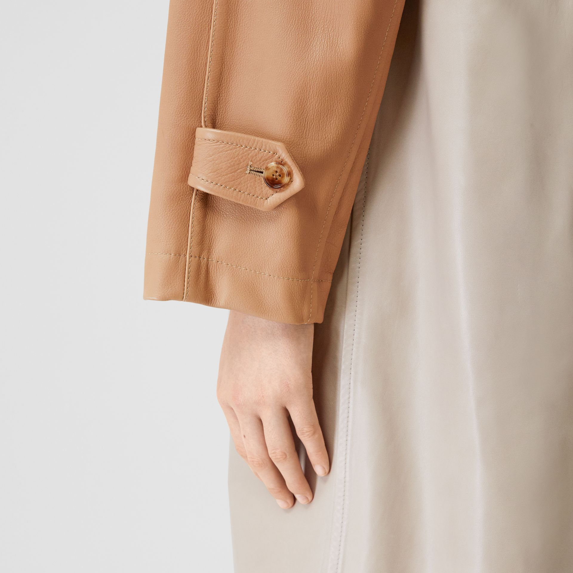 Patchwork Lambskin and Leather Car Coat in Biscuit - Women | Burberry - gallery image 5