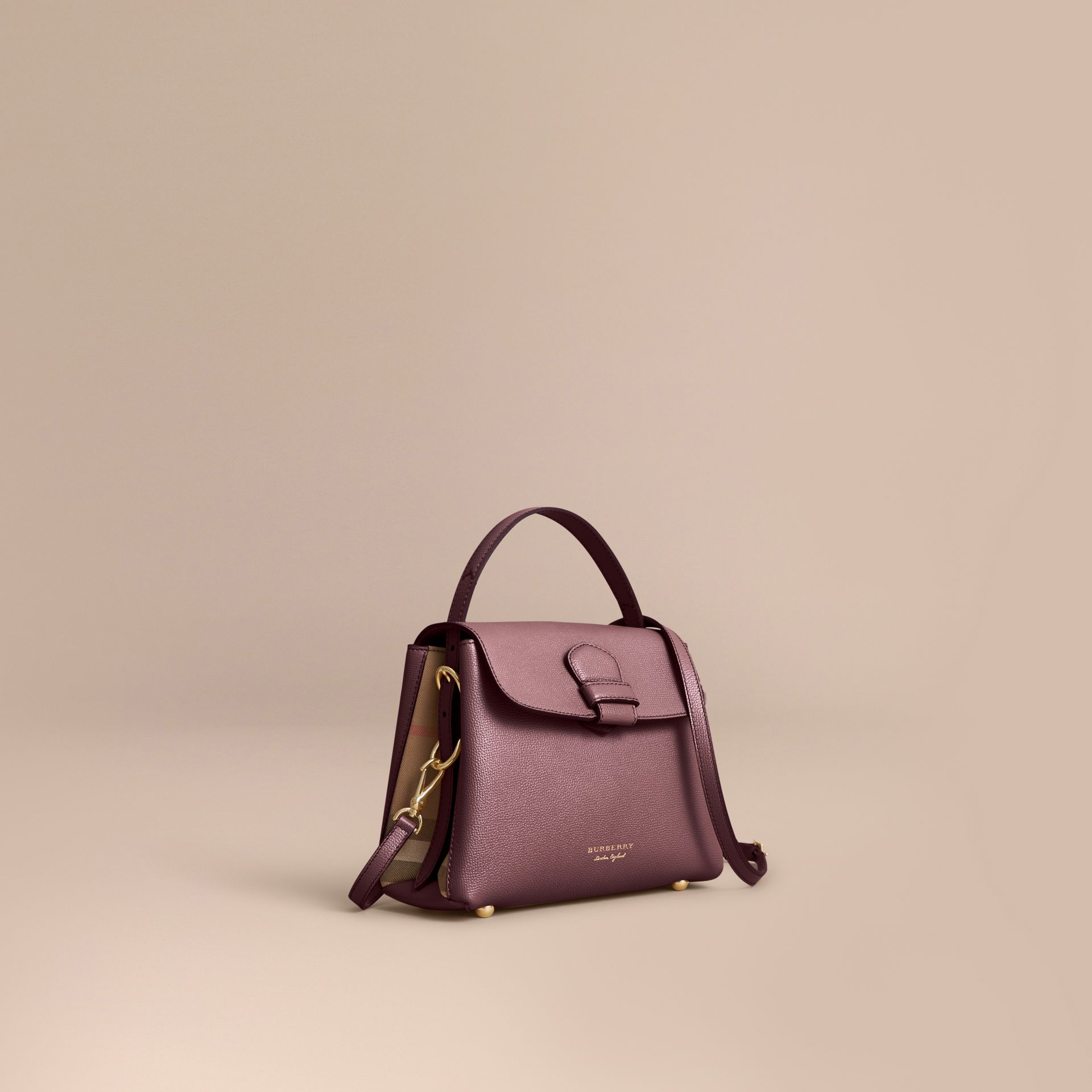 Small Grainy Leather and House Check Tote Bag - Women | Burberry - gallery image 1