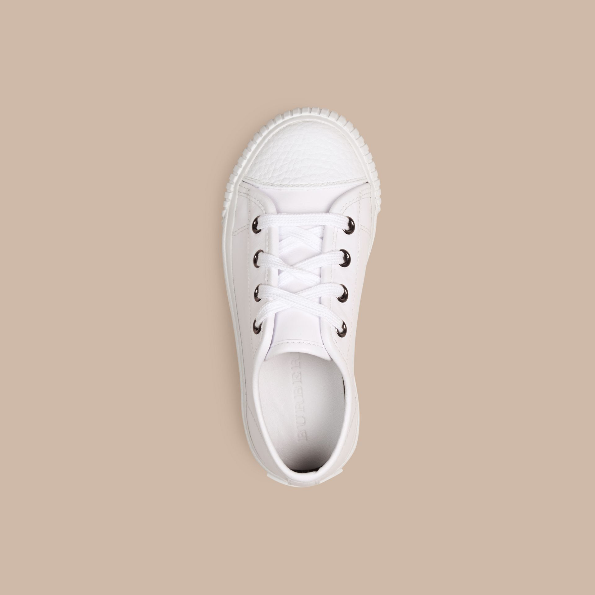 White Leather Lace-Up Trainers - gallery image 2