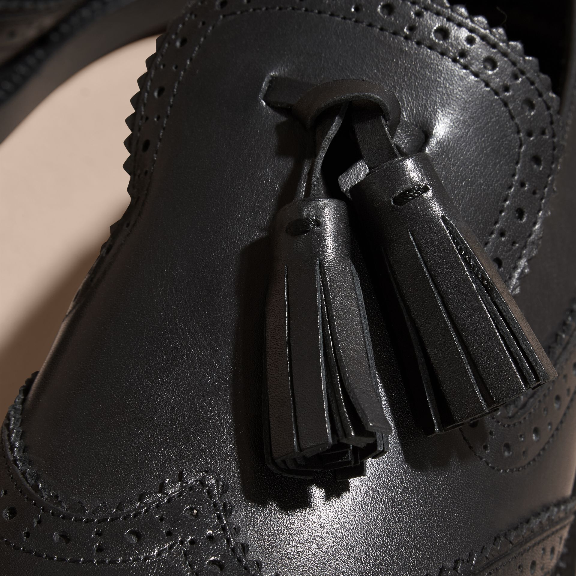 Black Leather Tassel Loafers Black - gallery image 2