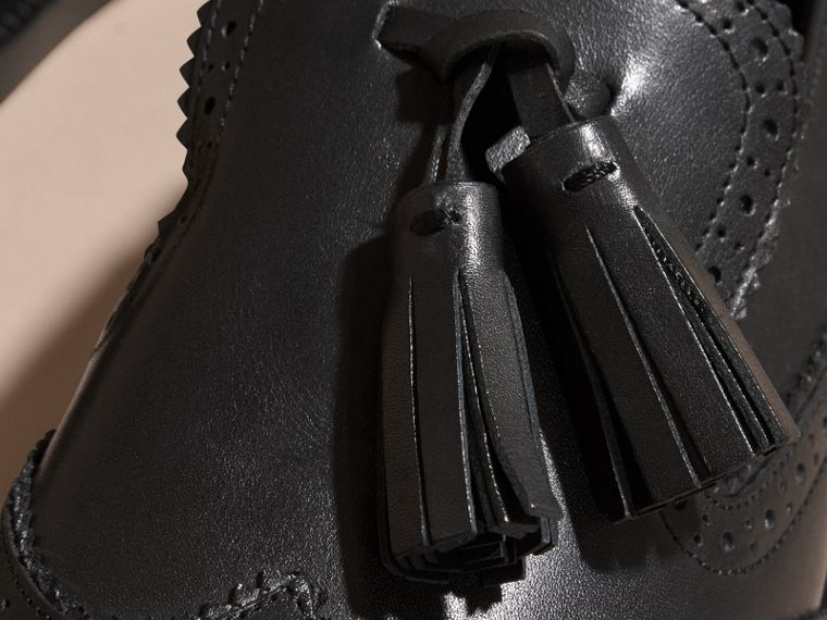 Leather Tassel Loafers in Black - Women | Burberry - cell image 1