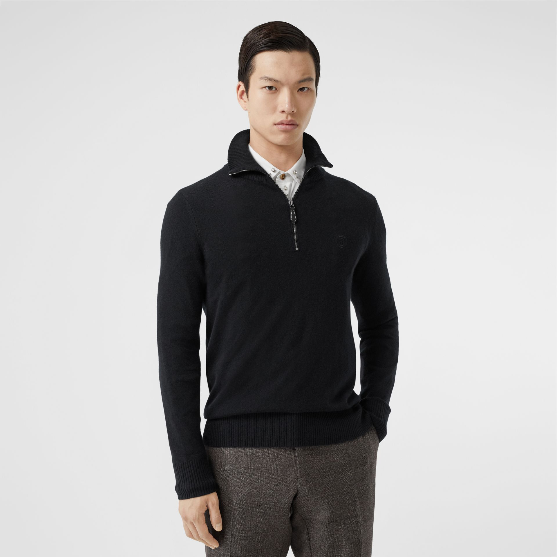 Monogram Motif Cashmere Funnel Neck Sweater in Black - Men | Burberry - gallery image 4