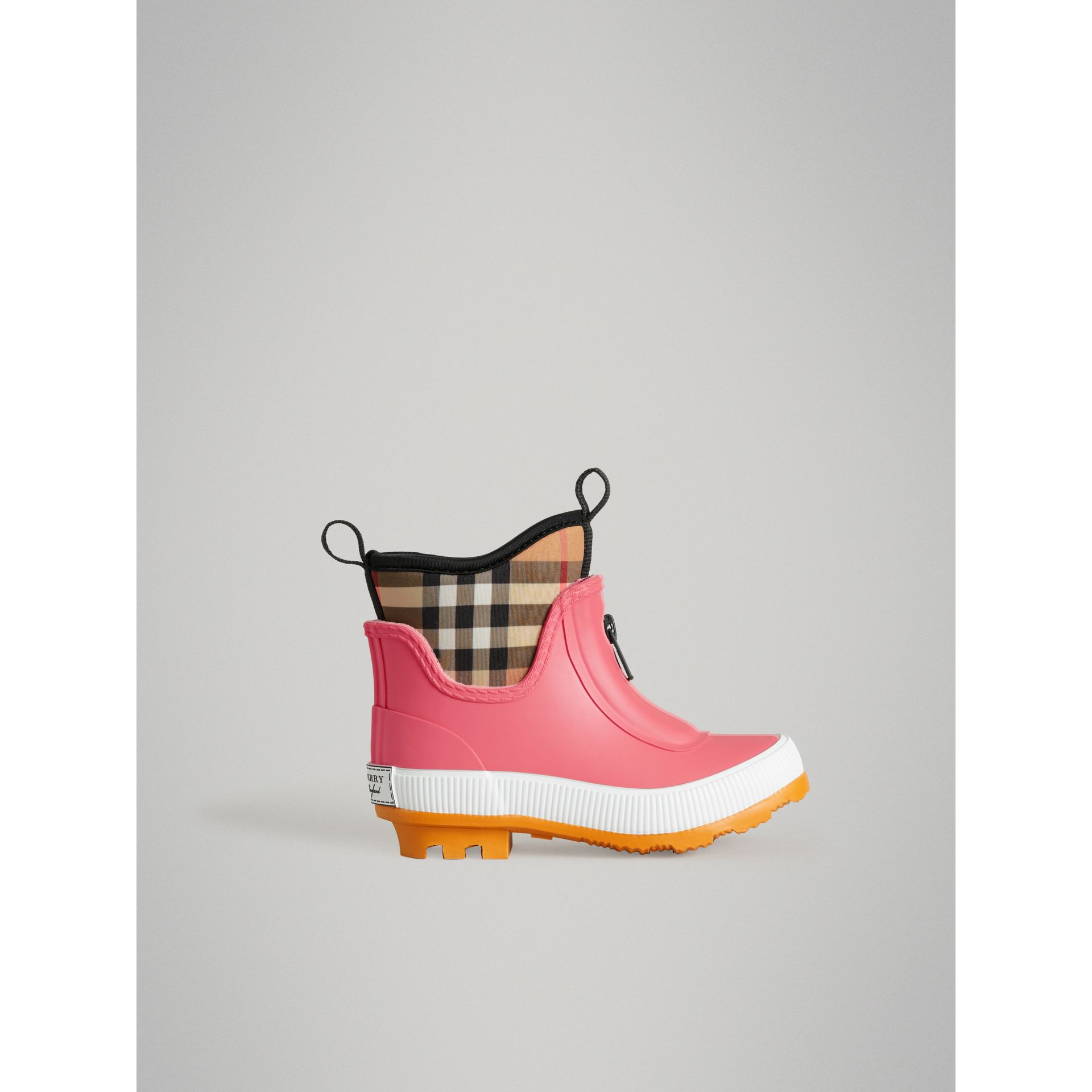 Vintage Check Neoprene and Rubber Rain Boots in Pink Azalea | Burberry Australia - gallery image 3
