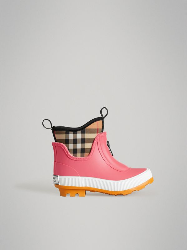 Vintage Check Neoprene and Rubber Rain Boots in Pink Azalea | Burberry Australia - cell image 3