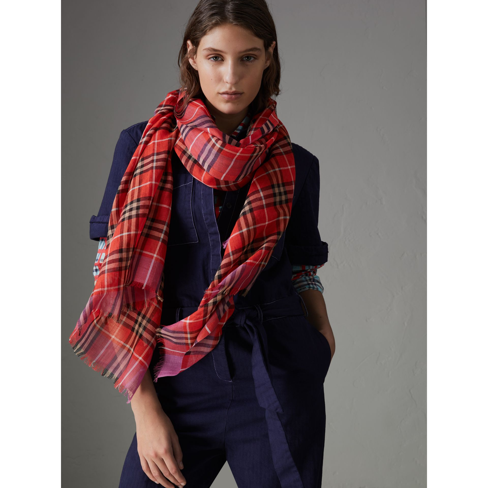 Check Wool Silk Scarf in Bright Orange Red | Burberry Singapore - gallery image 3
