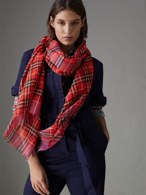 Check Wool Silk Scarf in Bright Orange Red | Burberry - cell image 3