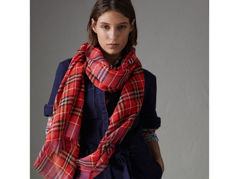 Check Wool Silk Scarf in Bright Orange Red | Burberry - cell image 4