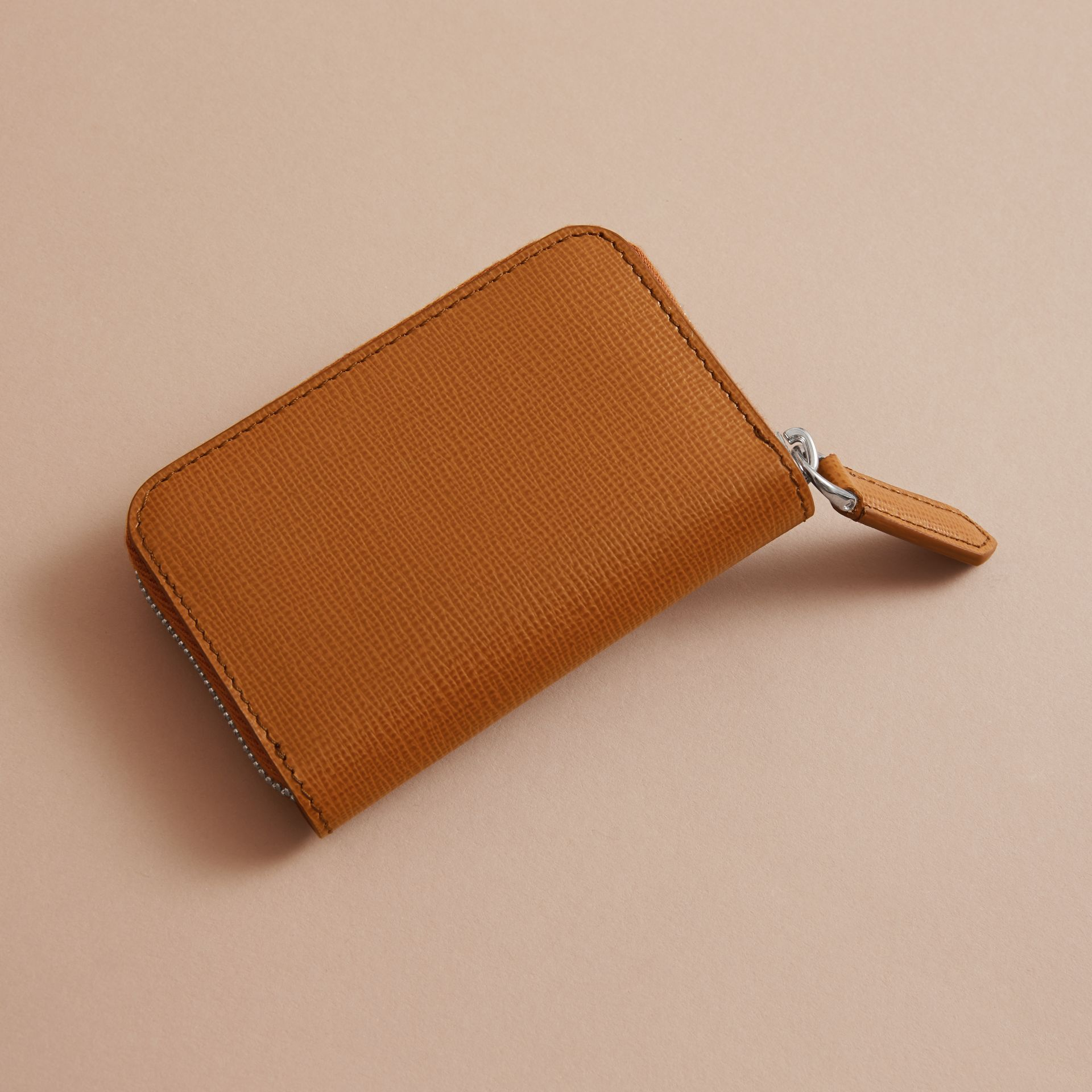 London Leather Ziparound Coin Case in Tan | Burberry - gallery image 4