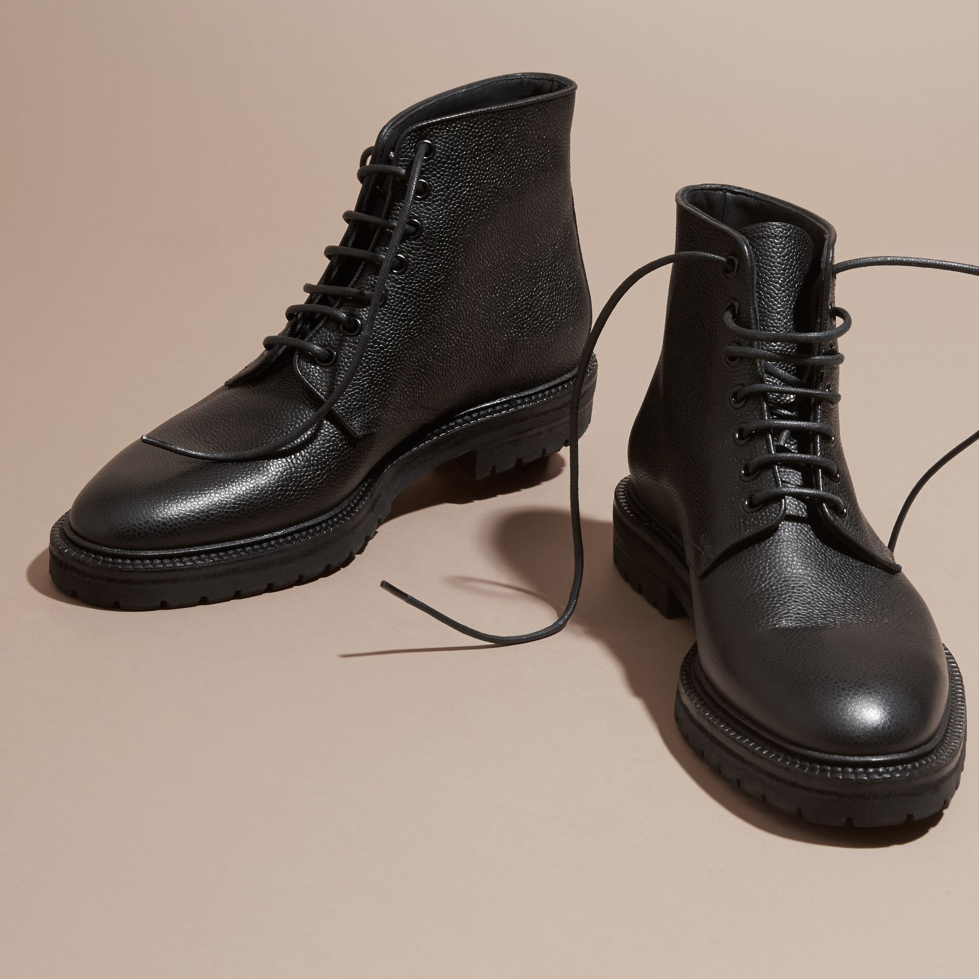 Black Lace-up Grainy Leather Boots Black - gallery image 3