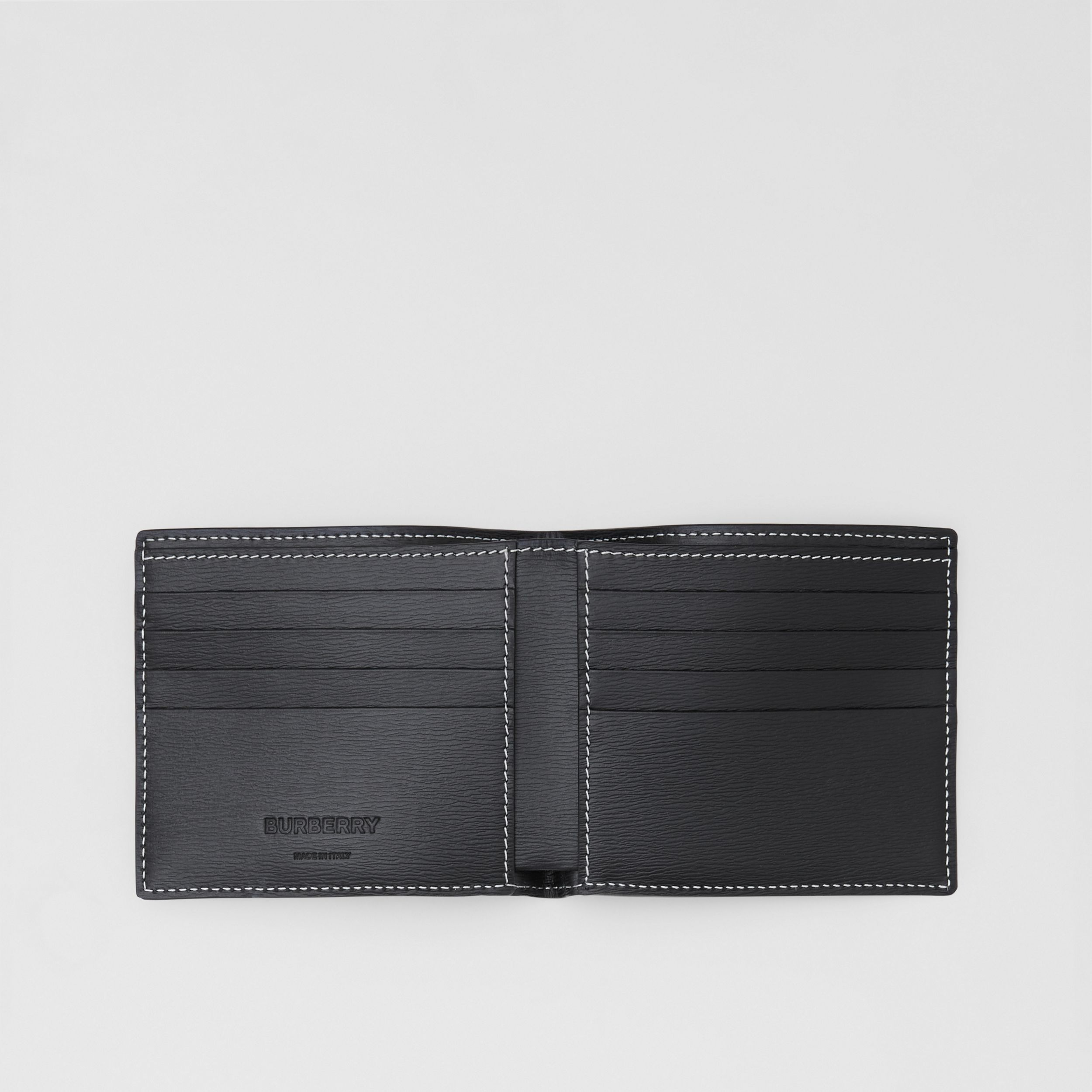 Topstitched Grainy Leather International Bifold Wallet in Black - Men | Burberry - 3