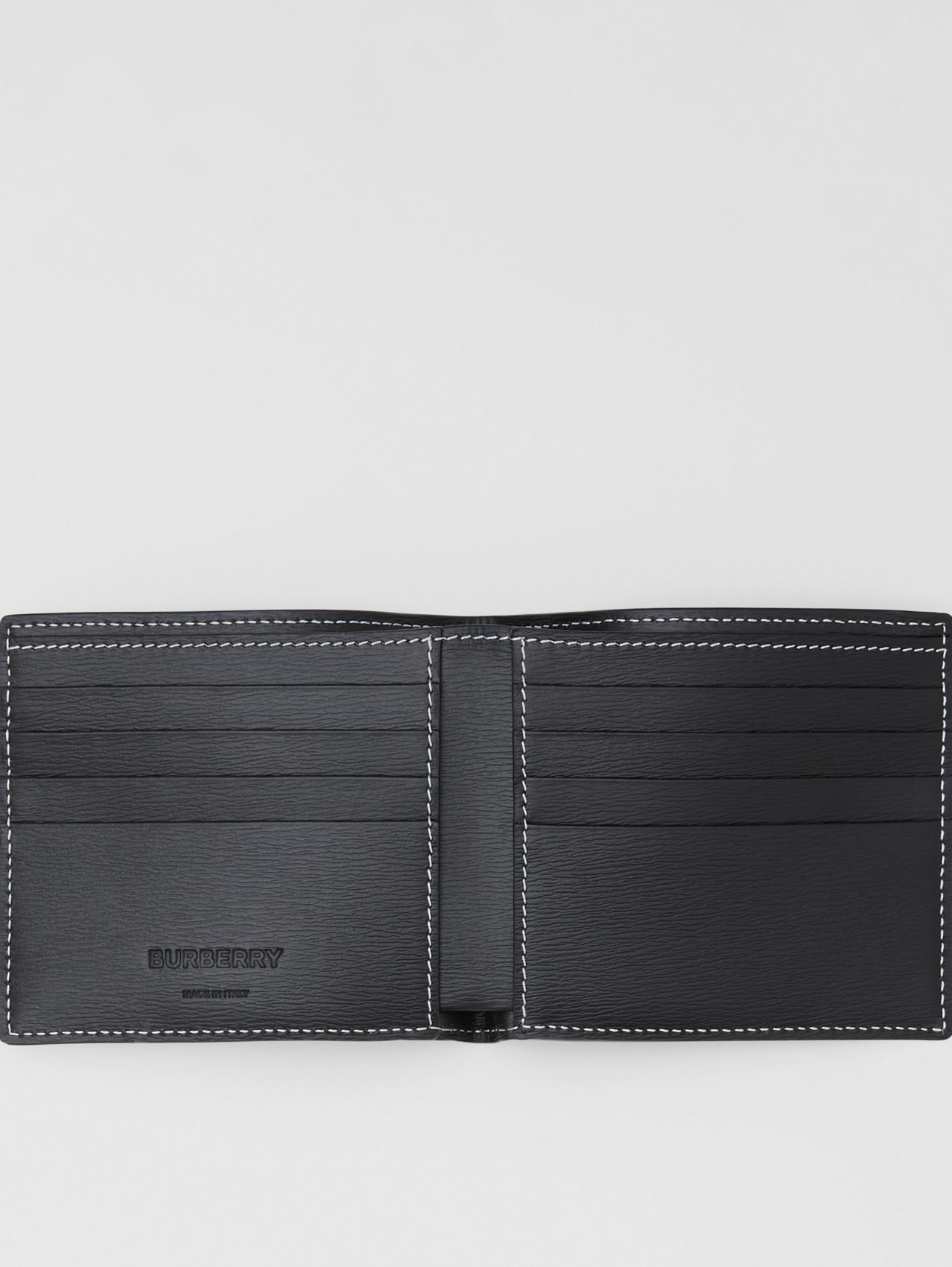 Topstitched Grainy Leather International Bifold Wallet (Black)