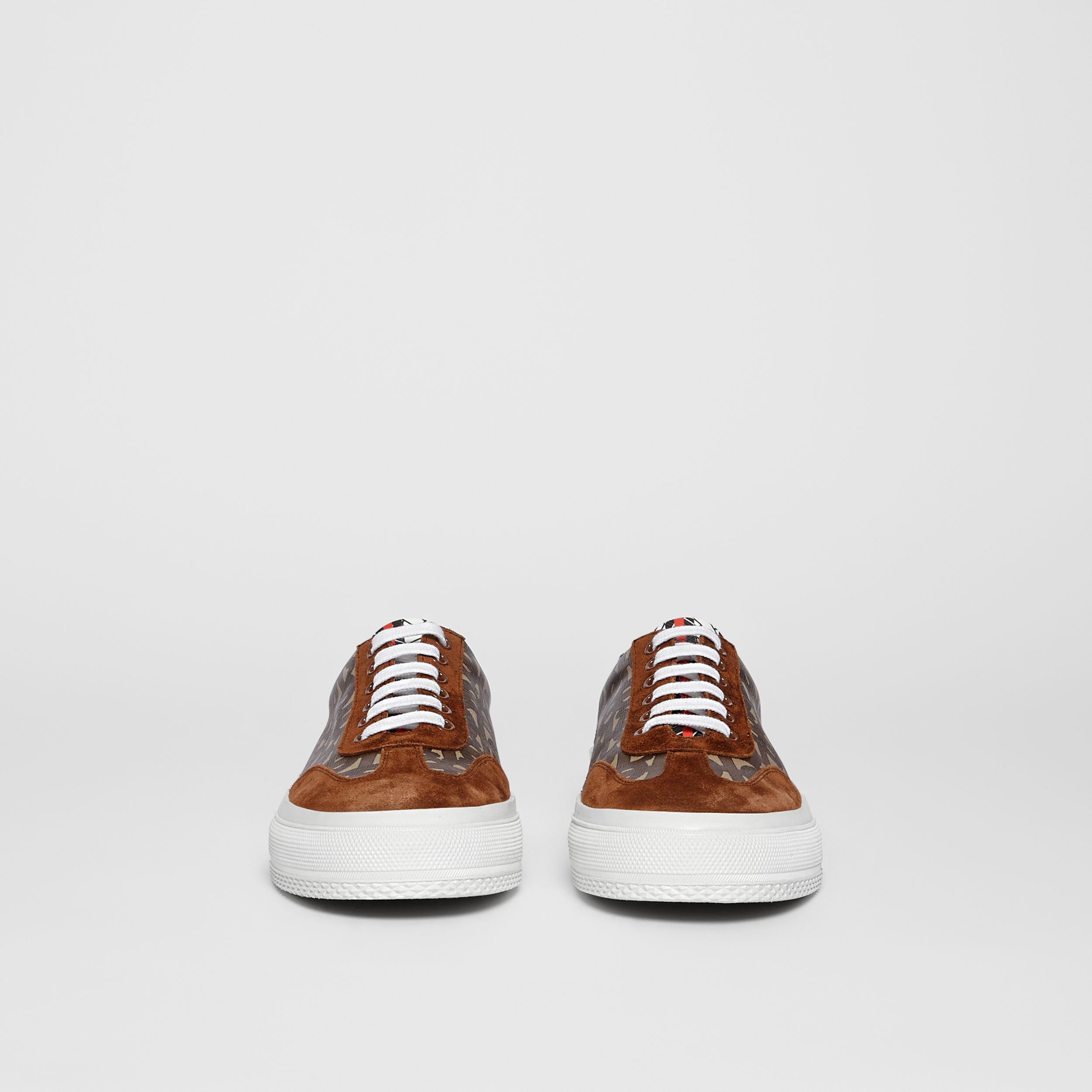 Suede Detail Monogram Stripe Sneakers in Bridle Brown - Women | Burberry - 4