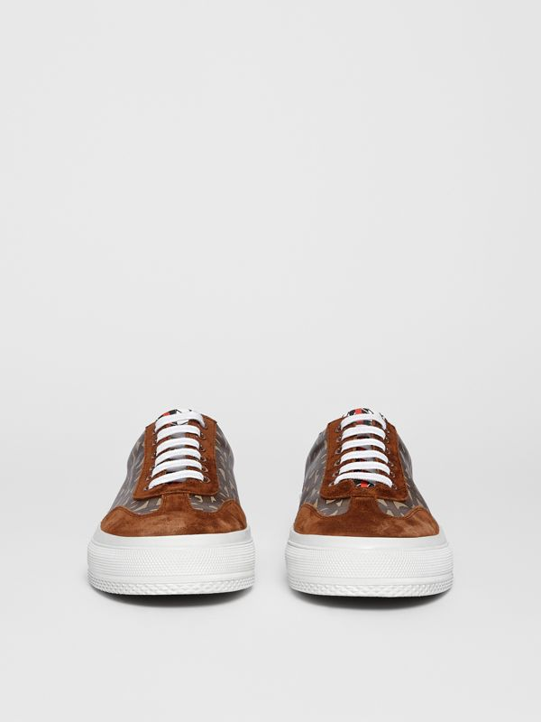 Suede Detail Monogram Stripe Sneakers in Bridle Brown | Burberry Canada - cell image 3
