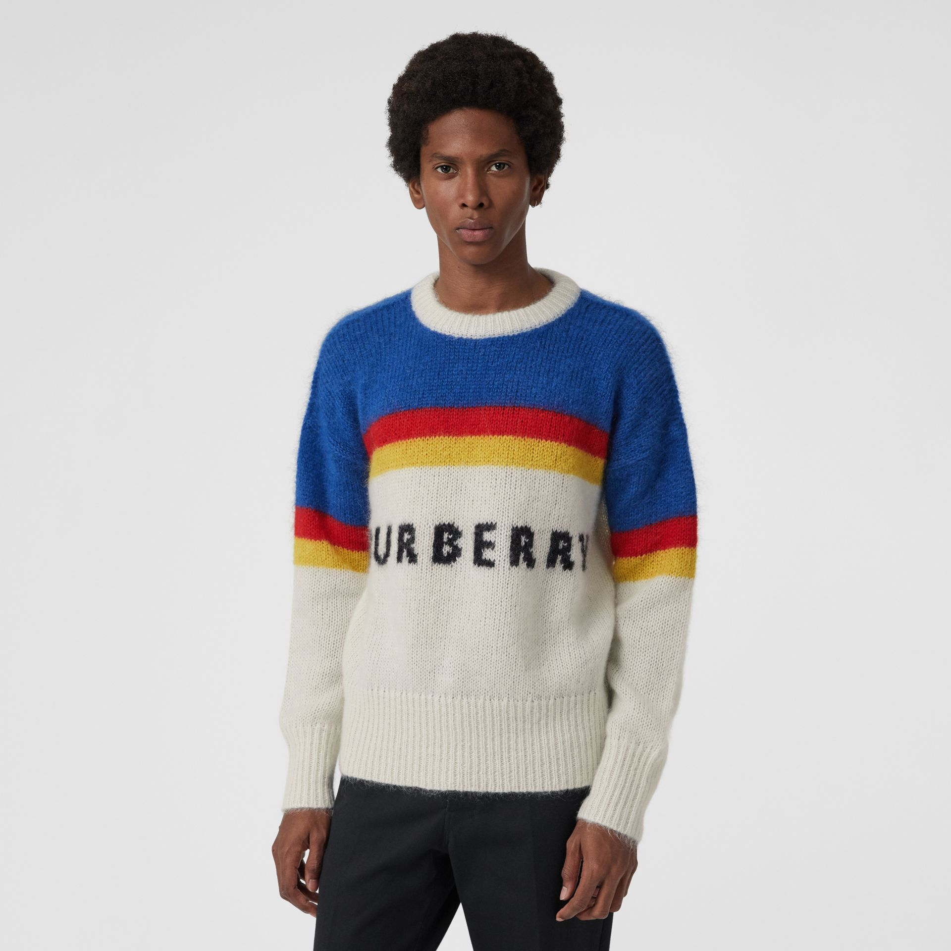 Striped Logo Intarsia Mohair Wool Blend Sweater in Cerulean Blue - Men | Burberry - gallery image 0