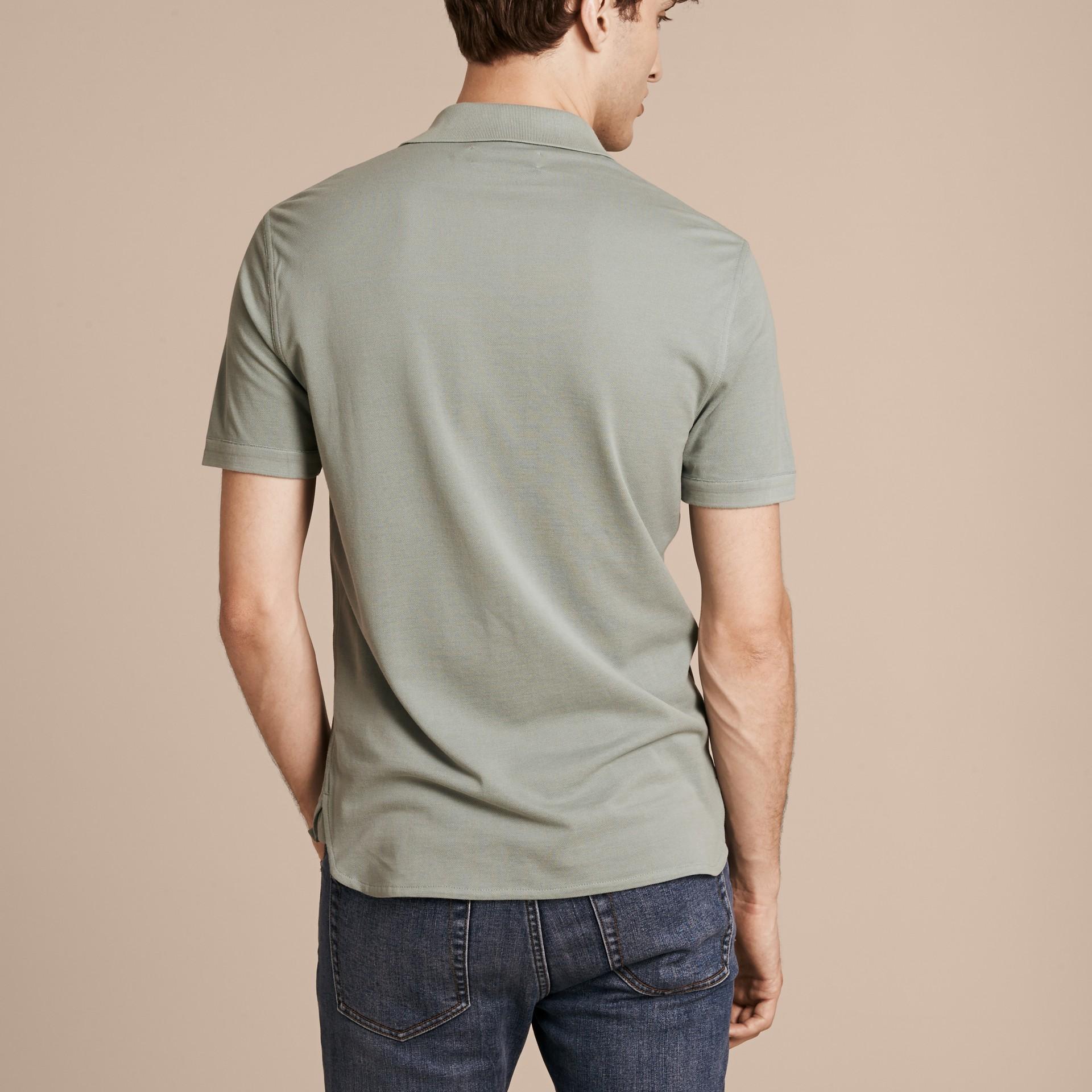 Eucalyptus green Silk Cotton Polo Shirt - gallery image 3