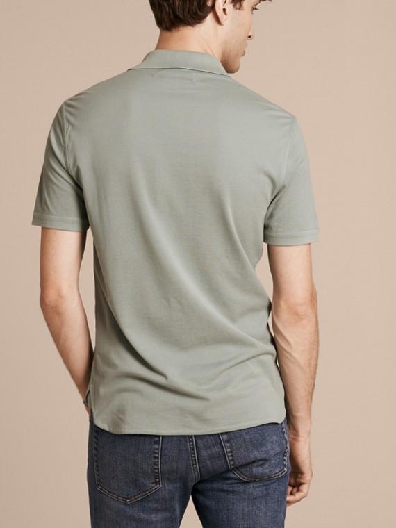 Eucalyptus green Silk Cotton Polo Shirt - cell image 2