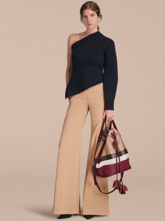 Medium Canvas Check and Leather Bucket Bag in Burgundy Red - Women | Burberry - cell image 2