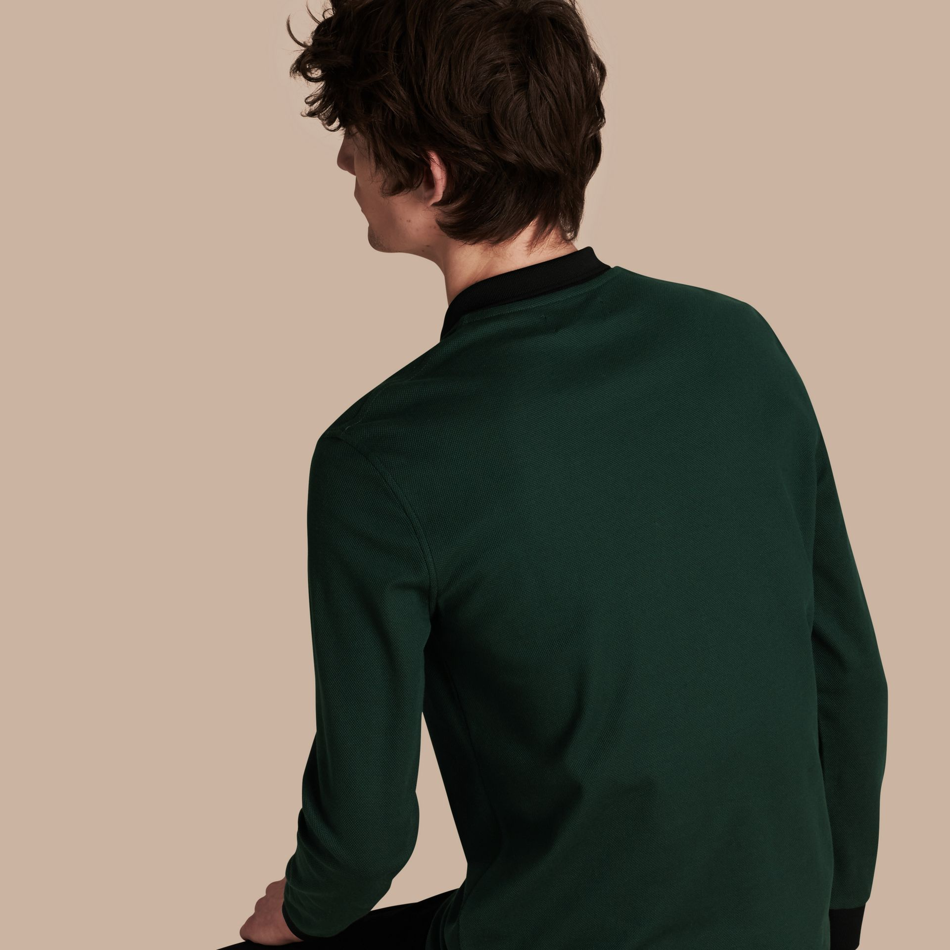 Forest green/black Long-sleeved Cotton Piqué Polo Shirt Forest Green/black - gallery image 3