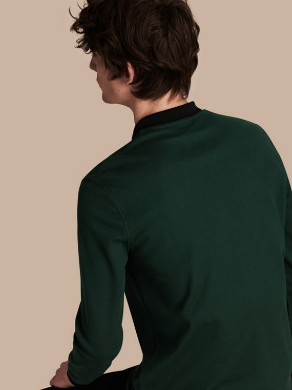 Forest green/black Long-sleeved Cotton Piqué Polo Shirt Forest Green/black - cell image 2