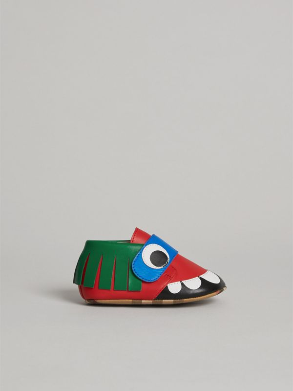 Monster Motif Leather Shoes in Bright Red - Children | Burberry - cell image 3