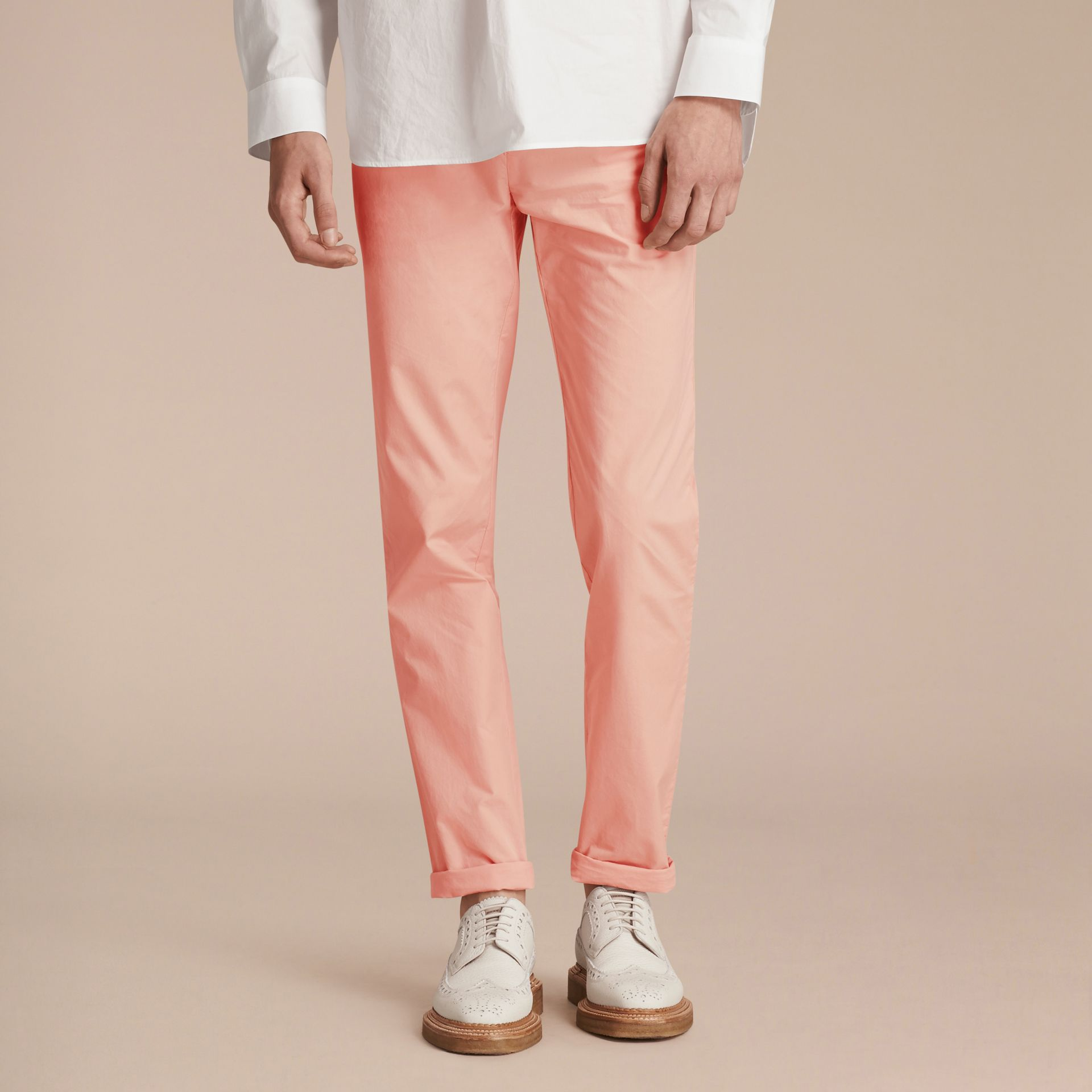 Slim Fit Cotton Poplin Chinos Apricot Pink - gallery image 7