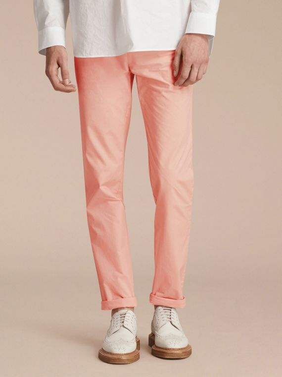 Slim Fit Cotton Poplin Chinos in Apricot Pink