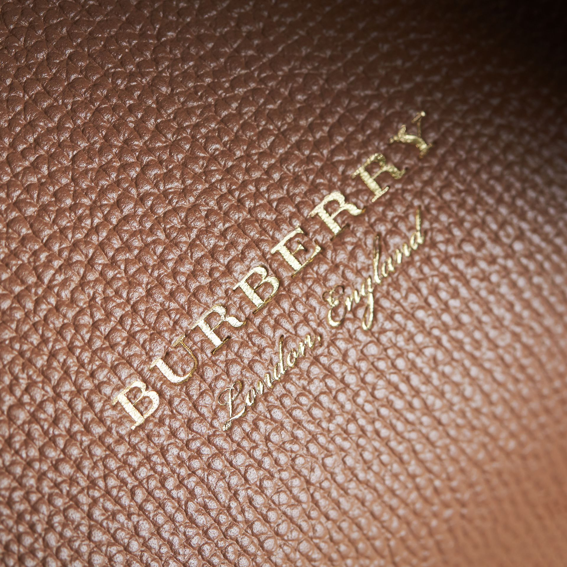 Small Grainy Leather and House Check Tote Bag in Dark Sand - Women | Burberry United Kingdom - gallery image 1