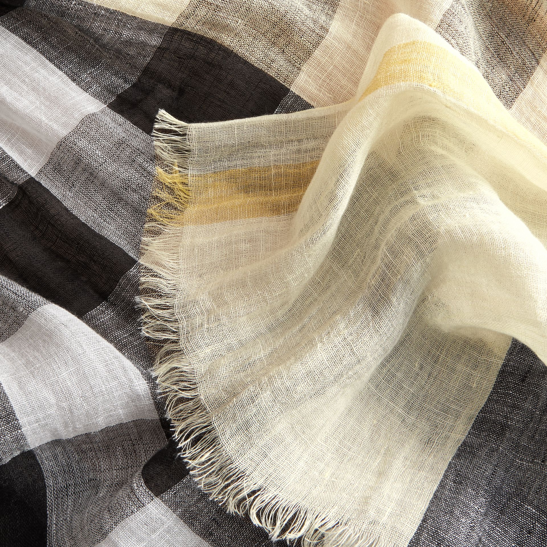 Lightweight Check Linen Scarf in Chalk Yellow | Burberry - gallery image 2