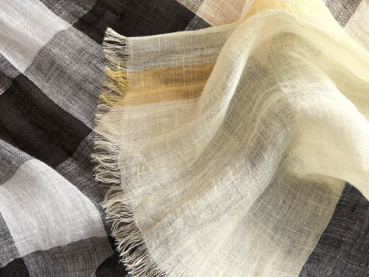 Lightweight Check Linen Scarf in Chalk Yellow | Burberry - cell image 1