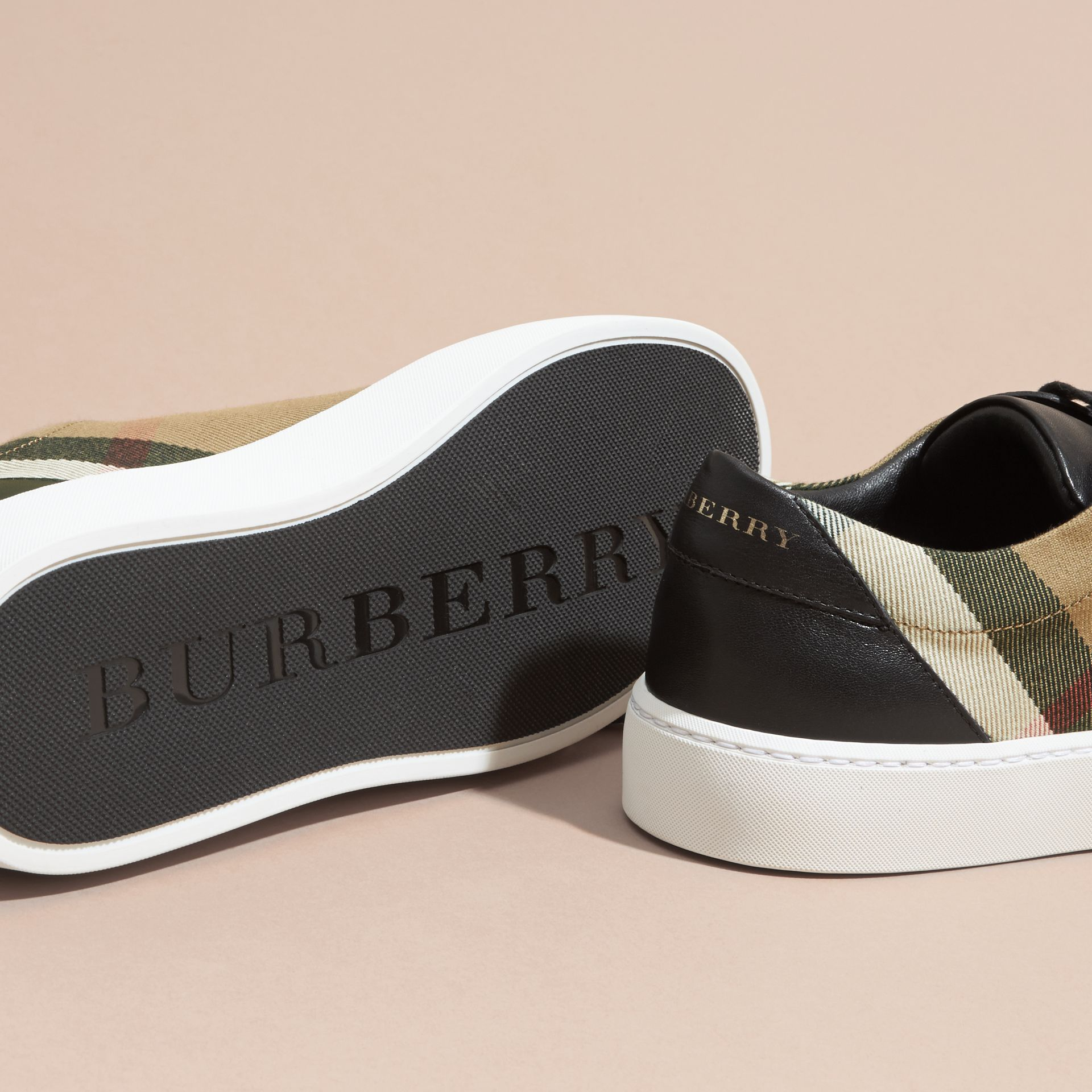 Check Detail Leather Trainers in House Check/black - Women | Burberry Canada - gallery image 5