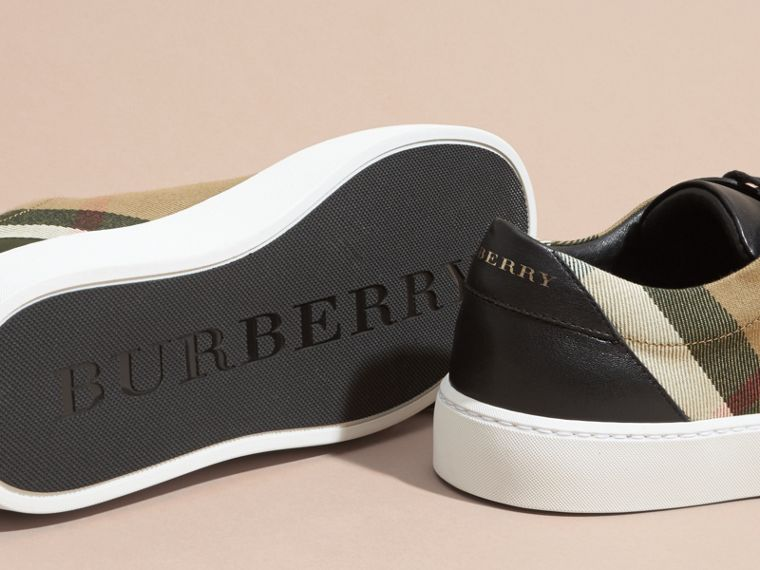 Check Detail Leather Trainers in House Check/black - Women | Burberry - cell image 4