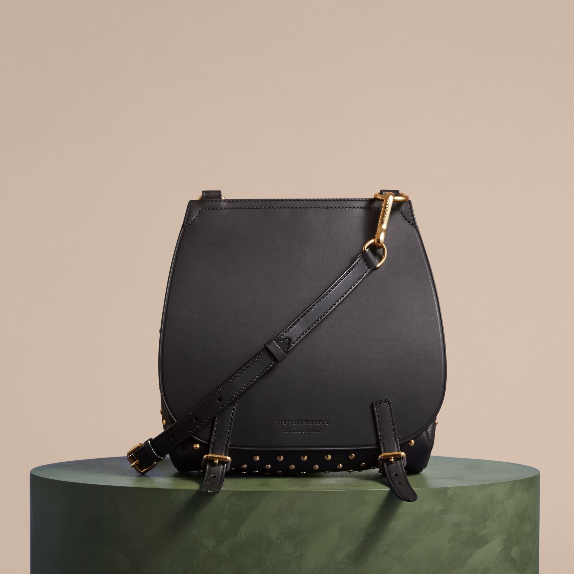 Black The Small Bridle Bag in Riveted Leather - gallery image 8