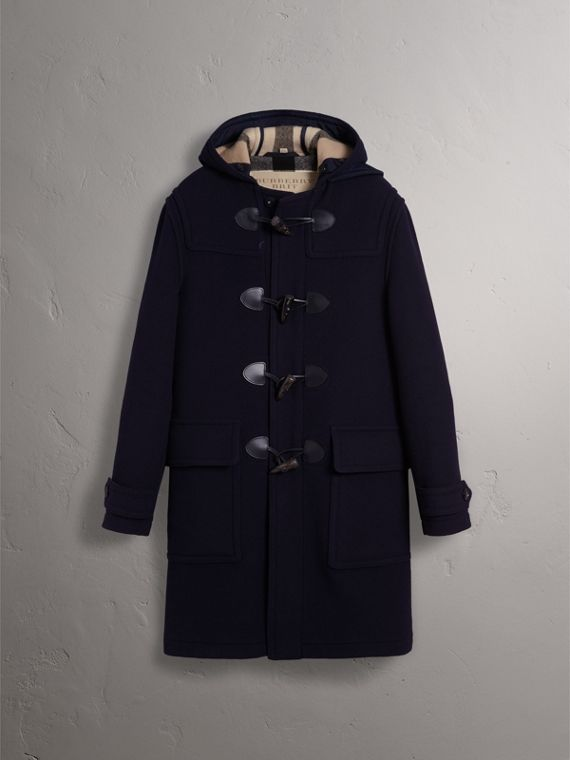 Wool-Blend Duffle Coat in Navy - Men | Burberry