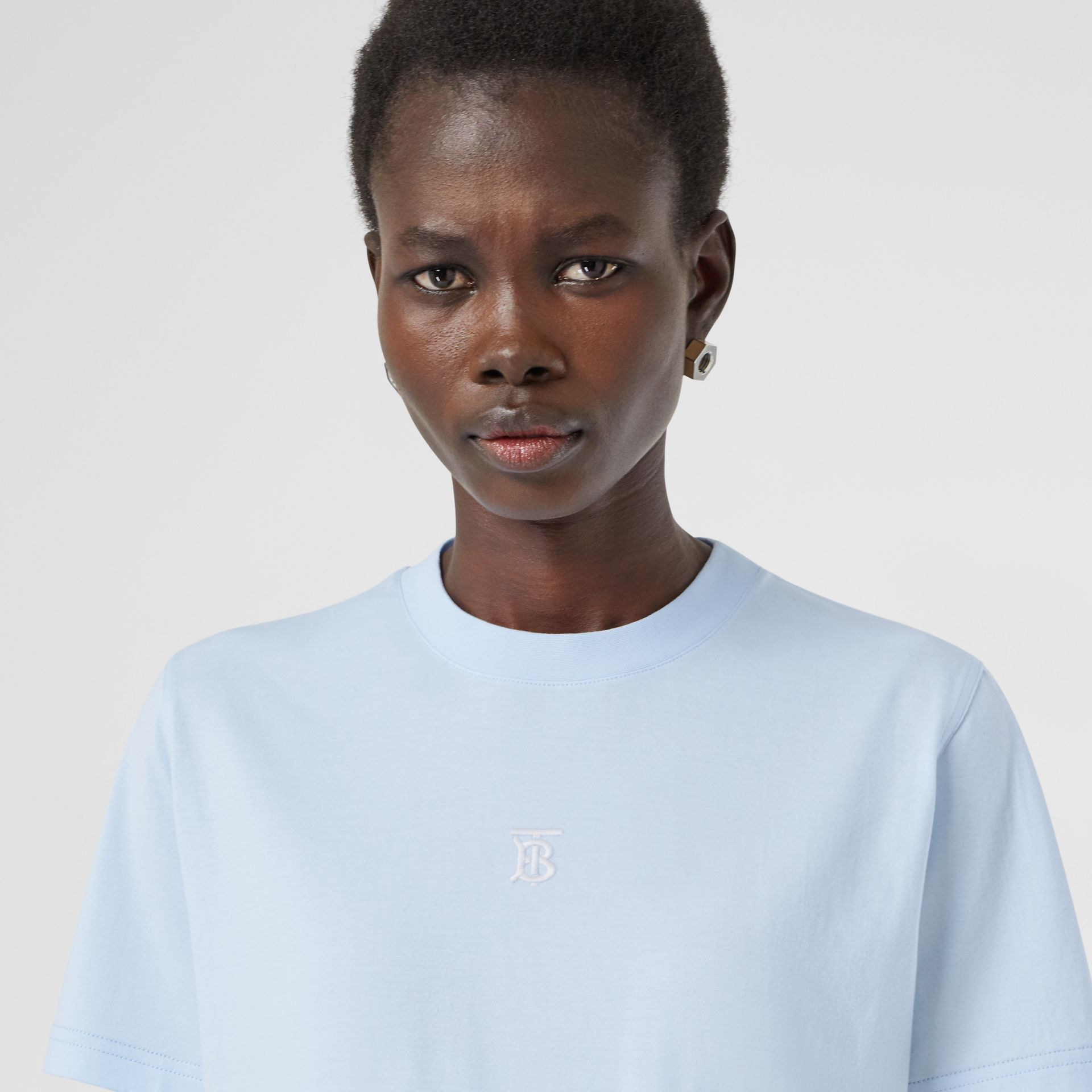 Monogram Motif Cotton T-shirt in Pale Blue - Women | Burberry - gallery image 1