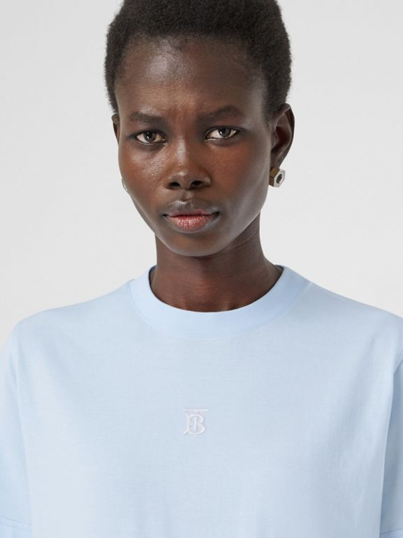 Monogram Motif Cotton T-shirt in Pale Blue - Women | Burberry - cell image 1