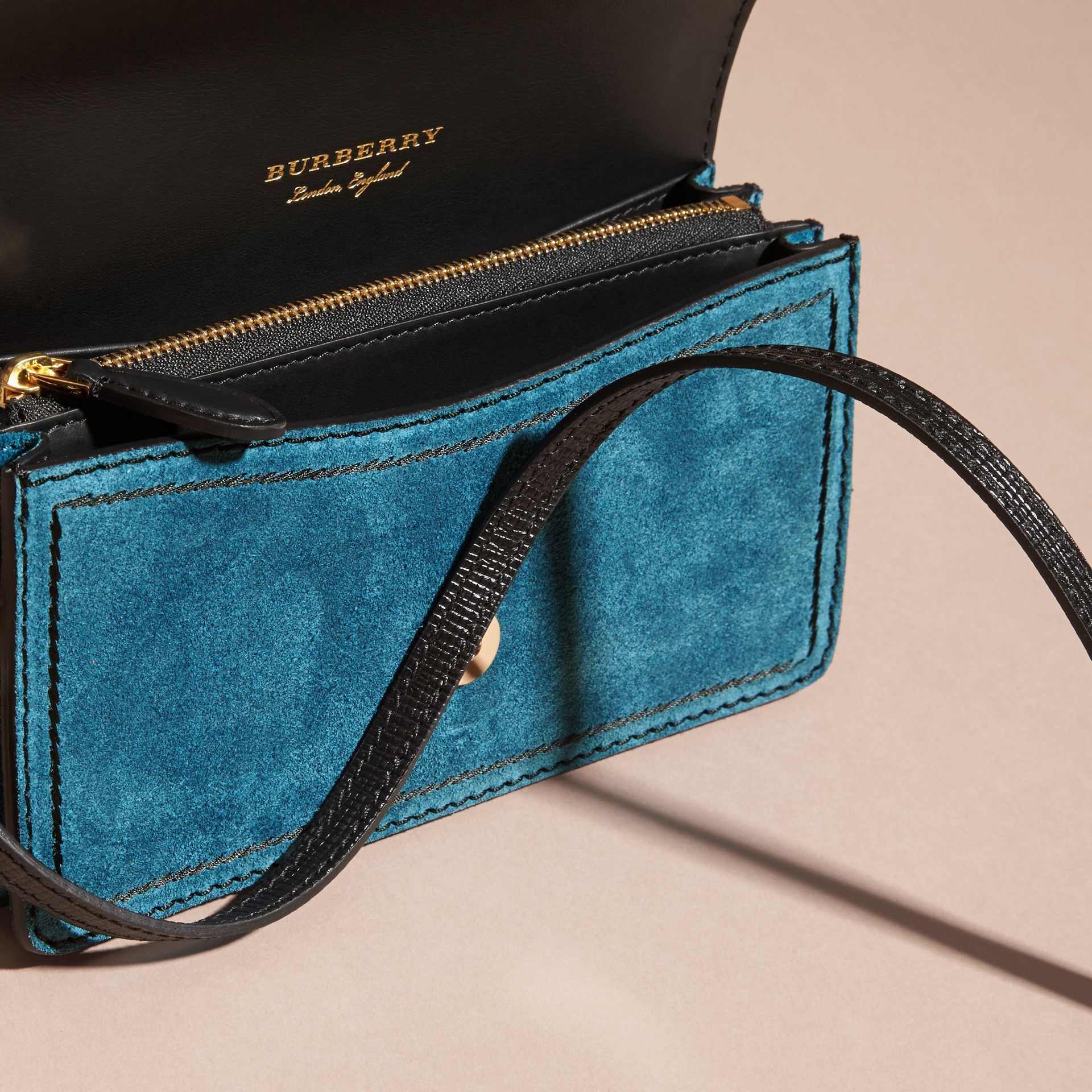 The Small Buckle Bag in Suede with Topstitching in Peacock Blue /black - gallery image 6