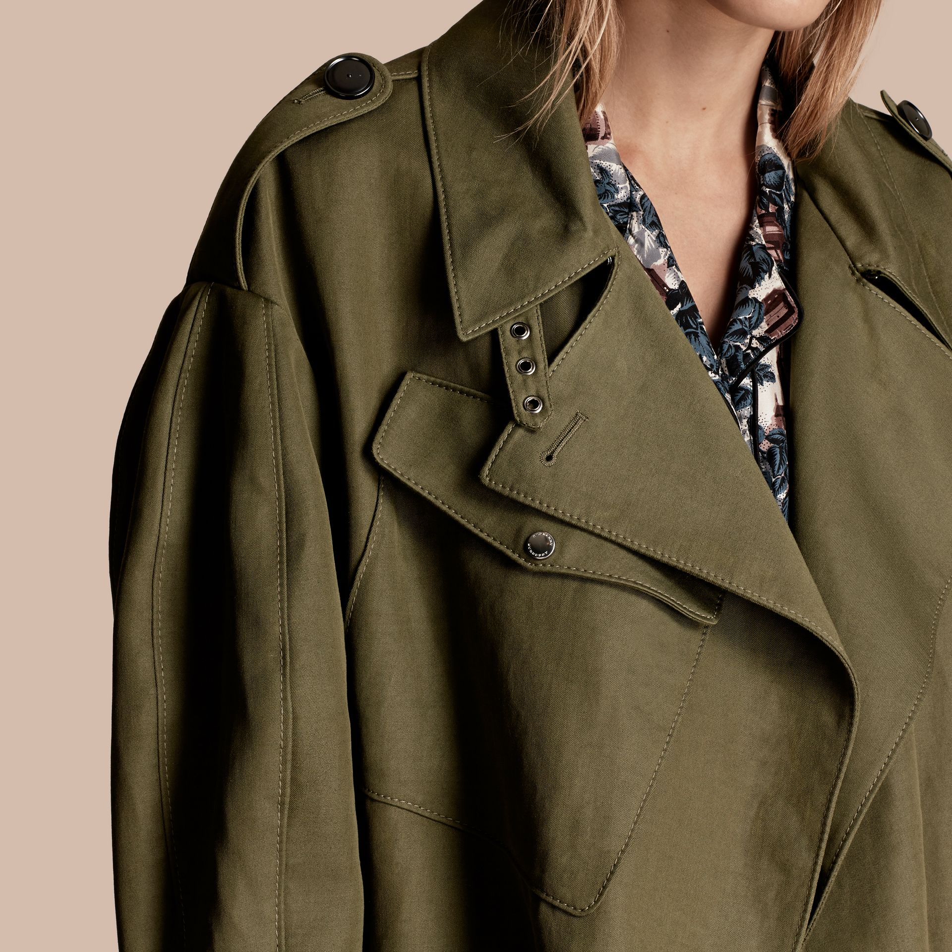 Military green Longline Ramie Cotton Wrap Coat - gallery image 5