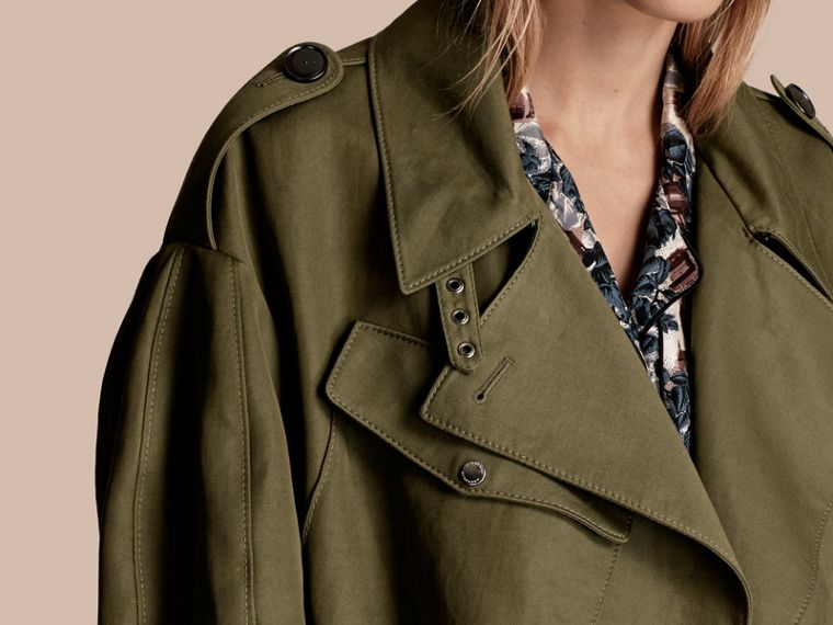 Military green Longline Ramie Cotton Wrap Coat - cell image 4
