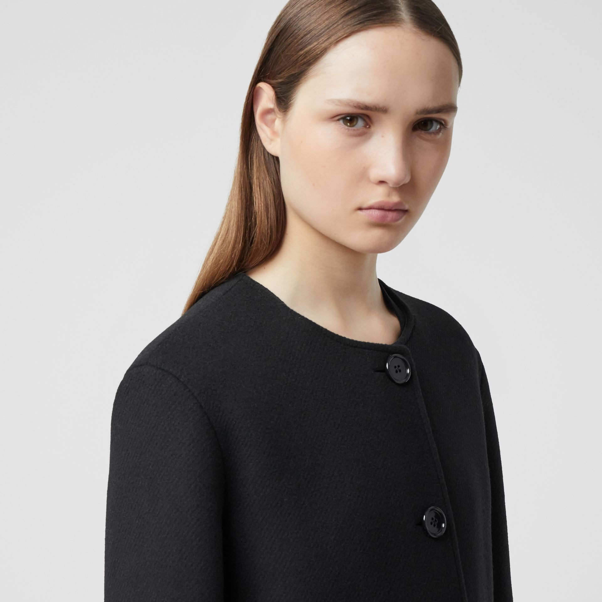 Fringed Double-faced Wool Cashmere Car Coat in Black - Women | Burberry United Kingdom - gallery image 1