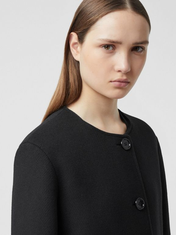 Fringed Double-faced Wool Cashmere Car Coat in Black - Women | Burberry United Kingdom - cell image 1