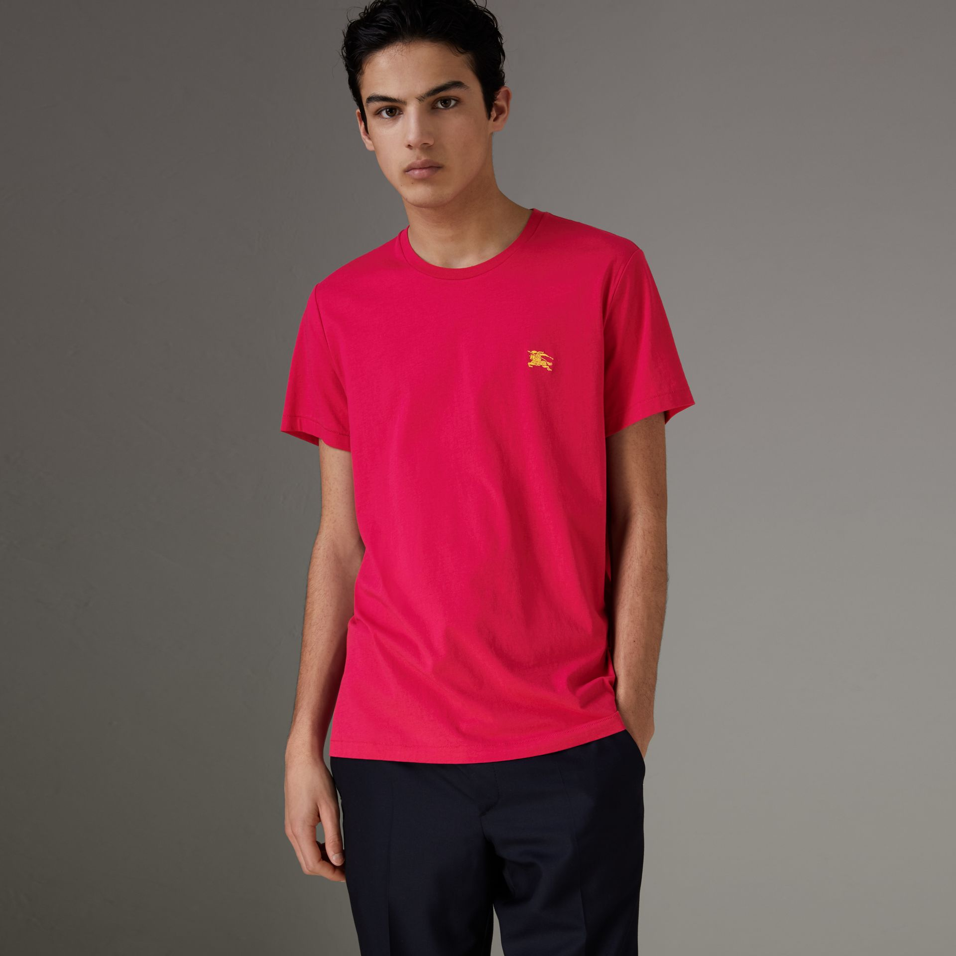 Cotton Jersey T-shirt in Bright Pink - Men | Burberry - gallery image 0