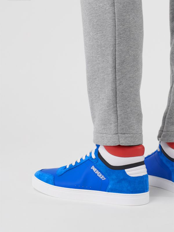 Leather and Suede High-top Sneakers in Bright Sky Blue - Men | Burberry - cell image 2