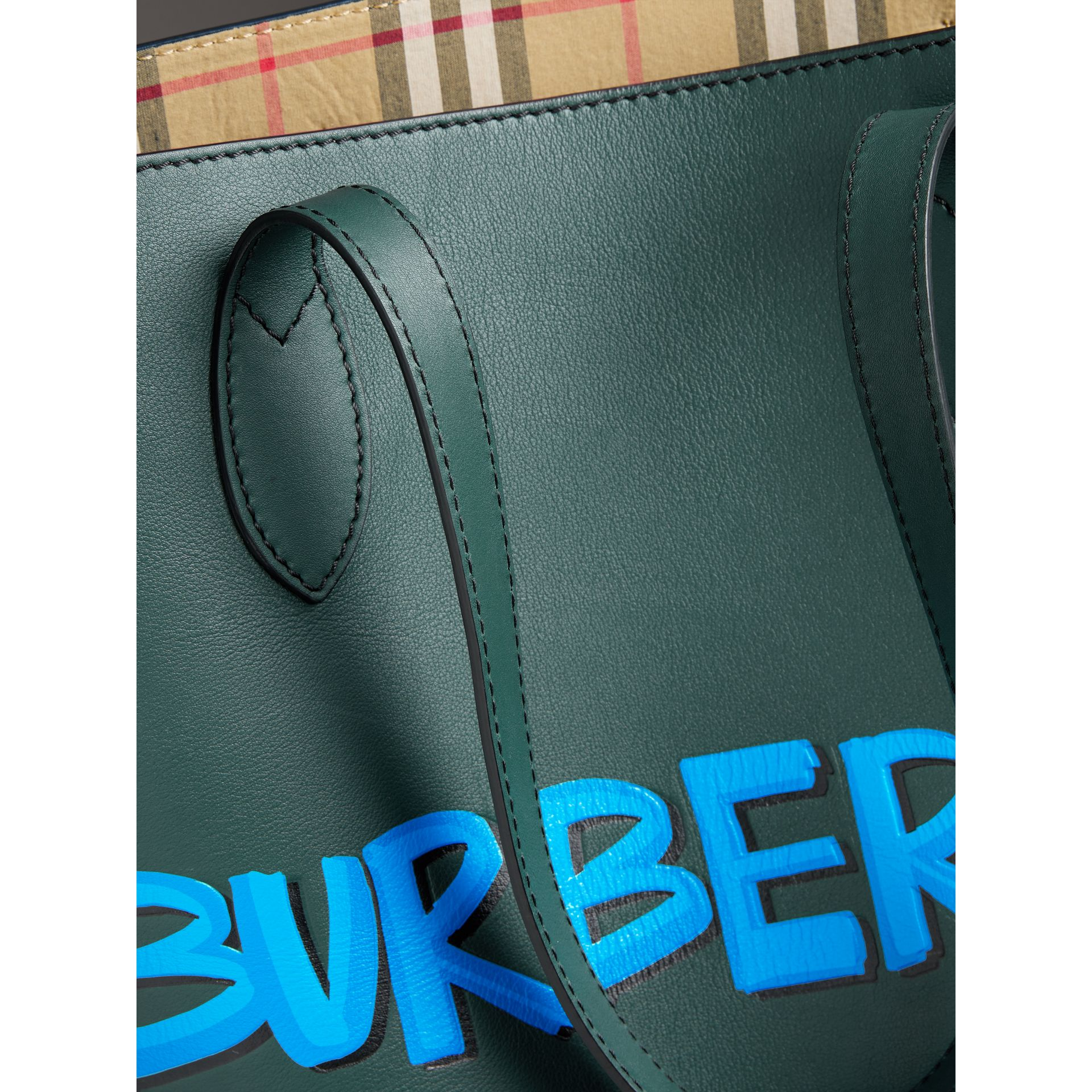 Graffiti Print Bonded Leather Tote in Deep Bottle Green | Burberry United States - gallery image 1