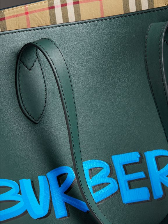 Graffiti Print Bonded Leather Tote in Deep Bottle Green | Burberry - cell image 1