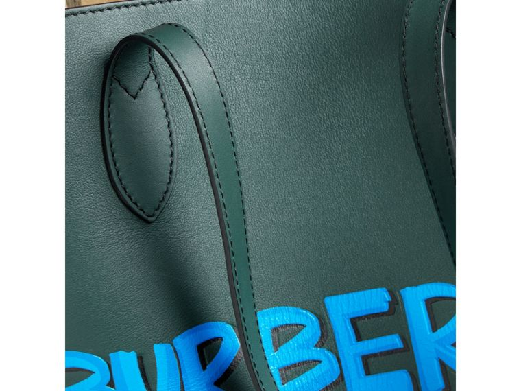 Graffiti Print Bonded Leather Tote in Deep Bottle Green | Burberry Canada - cell image 1